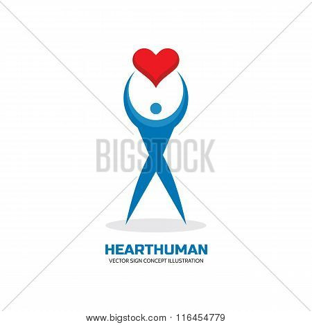 Heart human - vector logo concept illustration. I love you - concept vector sign. Valentine's Day.