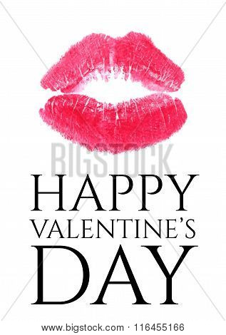 Valentine card with lipstick kiss