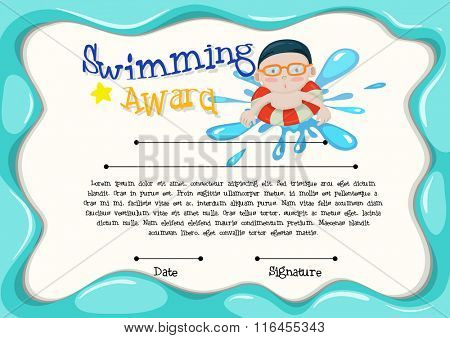Certification template of best swimmer illustration