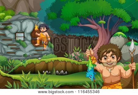 Two cavemen living in the stonehouse illustration