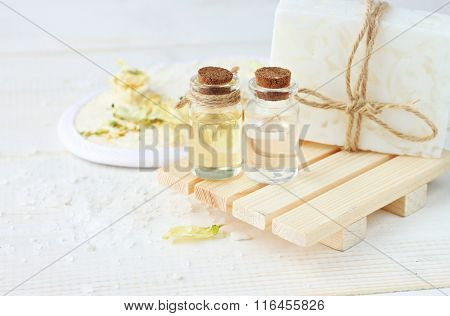 Herbal spa cosmetic products.