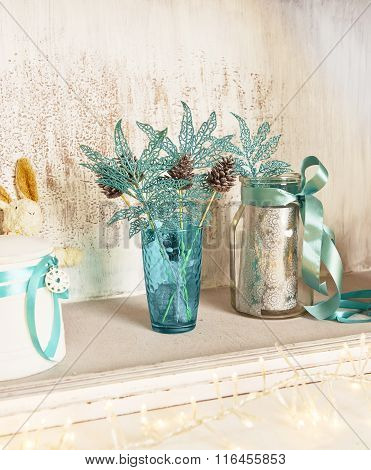 Christmas Decoration With Pine Cones Inattractive Blue Color.
