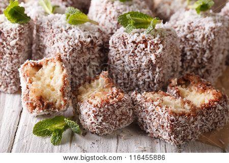 Australian Lamington Cake With Coconut Macro. Horizontal