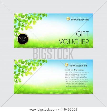 Spring vector Gift voucher template