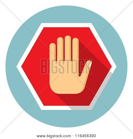 No entry hand, stop icon