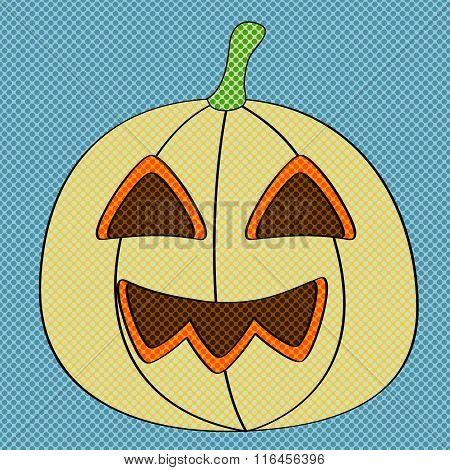 Retro Halloween Pumpkin With Dot Pattern. No Mesh, Gradients, Transparency Used. Fill Expanded. Obje