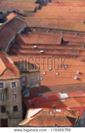 Portugal. Porto City. Roofs. In Blur Style