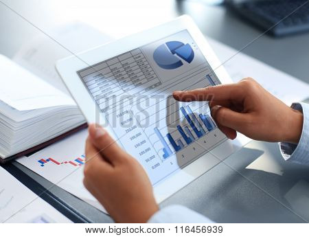 Business person analyzing financial statistics