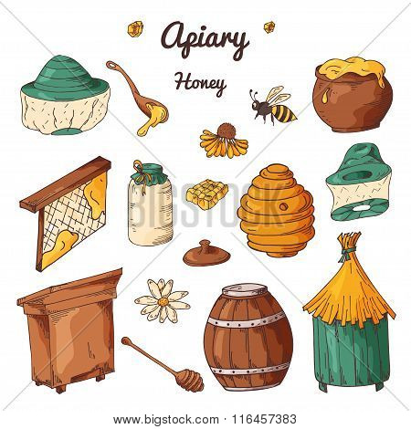 Set of honey elements. Apiary icons for your design. Vector sketches sweet natural food