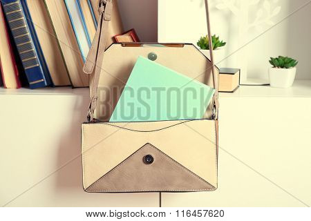 Fashion female handbag with books hanging on case
