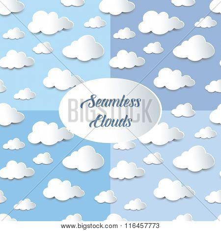 Set of four seamless backgrounds of fluffy clouds, paper cutout with shadow effect. EPS10 vector format.