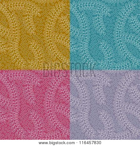 Seamless Pattern Made Of Leaves And Small Circles. No Mesh, Gradient, Transparency Used. 4 Colors Of