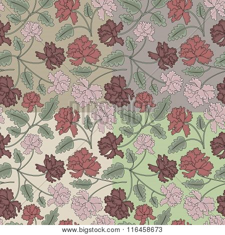 Vintage Peony Flowers And Leaves Seamless Pattern. 4 Variant Of Background Color. No Mesh. Gradient,