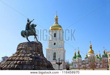 Historic Monument To Hetman Bogdan Khmelnitsky And Saint Sophia Cathedral On Sofia Square In Kyiv