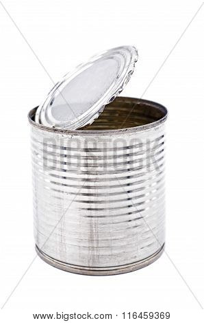 Tin can for food on white background
