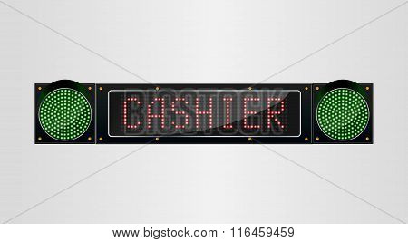 Shining retro light banner Cashier sign on a black background