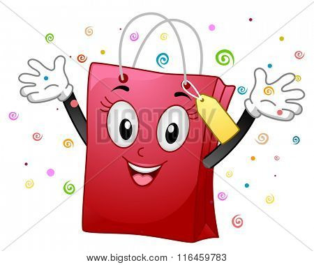 Mascot Illustration of a Happy Shopping Bag while raising her hands