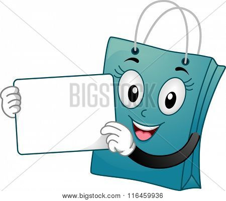 Mascot Illustration of a Shopping Bag carrying a white board