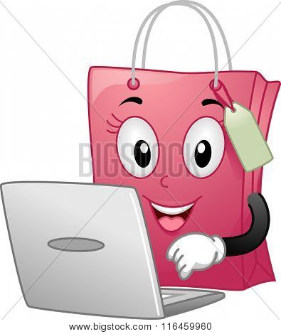 Mascot Illustration of a Shopping Bag while busy checking Online Shop