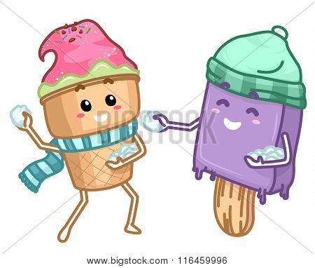 Mascot Illustration of Ice Cream Popsicle and Snow Balls playing ice together