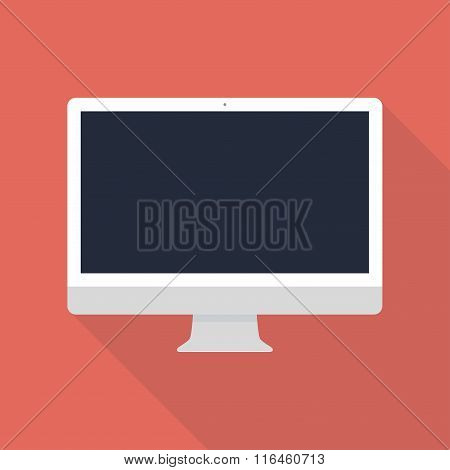 Monitor Icon In The Style Flat Design On The Red Background. Stock Vector Illustration Eps10