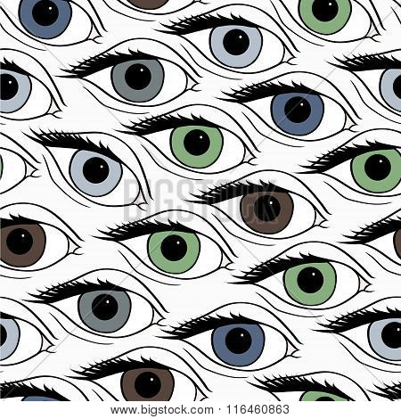 Abstract pattern with open eyes.