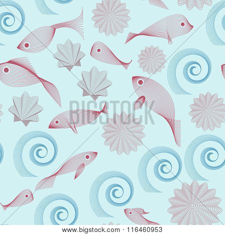 Abstract Seamless Pattern Made Of Fishes Ans Shells On Blue Background. No Mesh, Gradient, Transpare