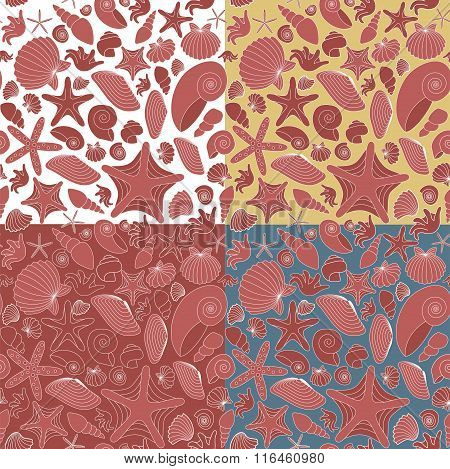 Seamless Pattern Made Of Dark-red Shells And Starfishes. 4 Background Colors. Objects Grouped And Na