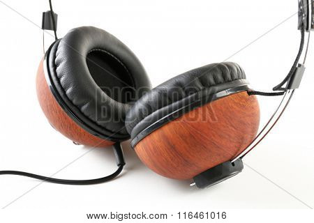 Black and brown headphones isolated on white