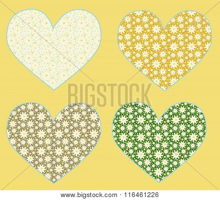 Set Of 4 Vector Hearts Patterned With White And Yellow Flowers. Fill Expanded. Objects Grouped And N