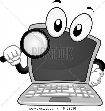 Mascot Illustration of a Laptop while handling a Magnifying Glass