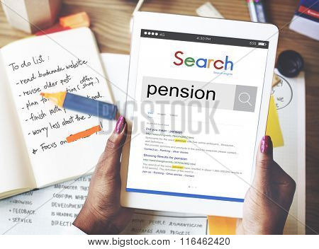 Pension Income Payment Retirement Salary Wage Concept