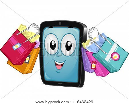Mascot Illustration of a Tablet/Mobile Phone while carrying Shopping Bags