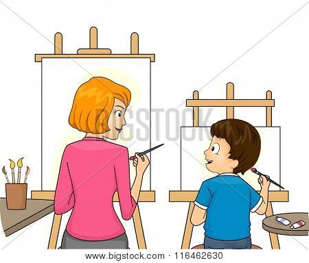 Illustration of a Mom Teaching Her Son to Paint