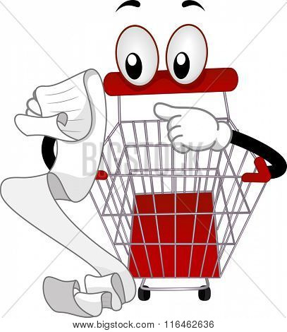 Mascot Illustration of a Shopping Cart while checking for a shopping list