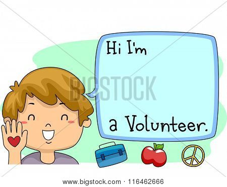 Illustration of a Happy Boy Introducing himself as a Volunteer