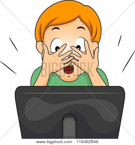 Illustration of a Boy covering his face while watching an internet show