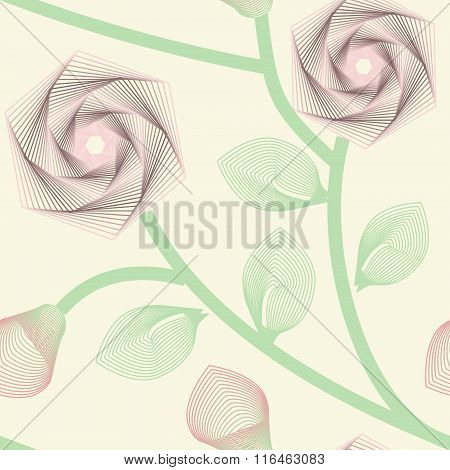 Abstract Roses Seamless Background. No Mesh, Gradient, Transparency Used. Strokes Expanded. Objects