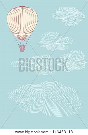 Balloon Flying In The Summer Sky Above The Clouds. No Mesh, Gradient, Transparency Used. Objects Gro
