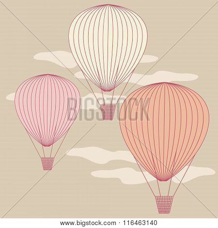 Three Balloons Flying In The Sky Painted With Vintage Colors. No Mesh, Gradient, Transparency Used.