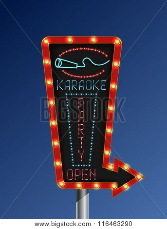Retro arrow light banner karaoke blue background