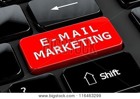 E-mail Marketing On Computer Keyboard Background