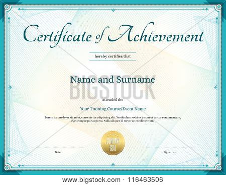 Certificate Of Achievement Template In Vector For Achievement Graduation Completion
