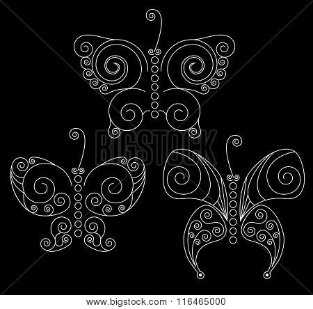 Set Of Three White Patterned Butterflies On Black Background. No Mesh, Gradient, Transparency Used.