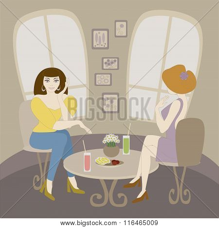 Vector Illustration Of Two Caucasian Woman Talking In Cafe. No Mesh, Gradient, Transparency Used. Ob