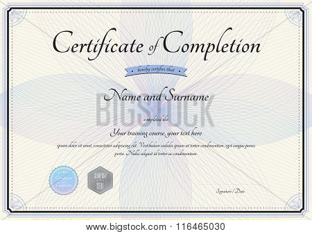 Certificate Of Completion Template In Vector With Florist Botany Swirl In Background