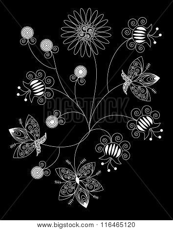 Bouquet Of White Patterned Flowers On Black Background. Objects Grouped And Named In English. No Mes