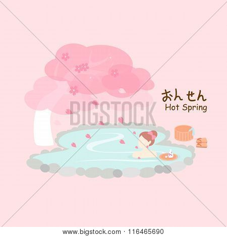 Beauty Woman With Hot Spring