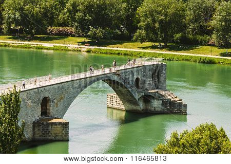 Half ruined bridge in Avignon, Provence, France