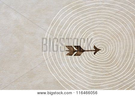 Vintage Arrow And Spiral Printed On Antique Beige Paper Texture